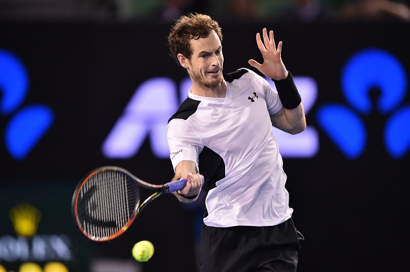 Andy Murray hits a forehand during his semifinal on Friday. Photo: Peter Parks/AFP/Getty Images