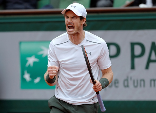 Andy Murray roars after winning a point in his semifinal win. Photo: Thomas Samson/AFP/Getty Images