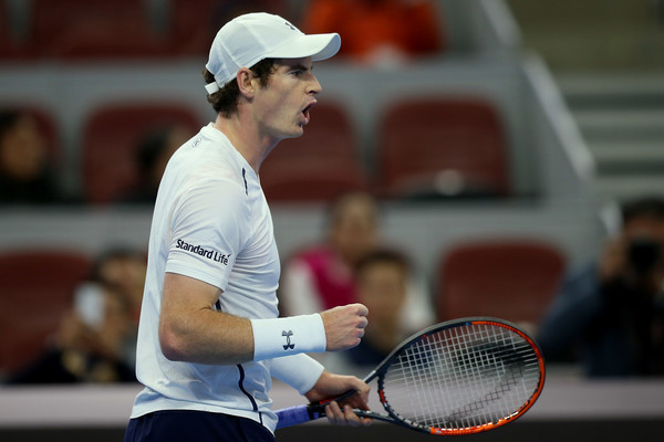 Andy Murray celebrates winning his semifinal match in Beijing this week. Photo: Emmanuel Wong/Getty Images