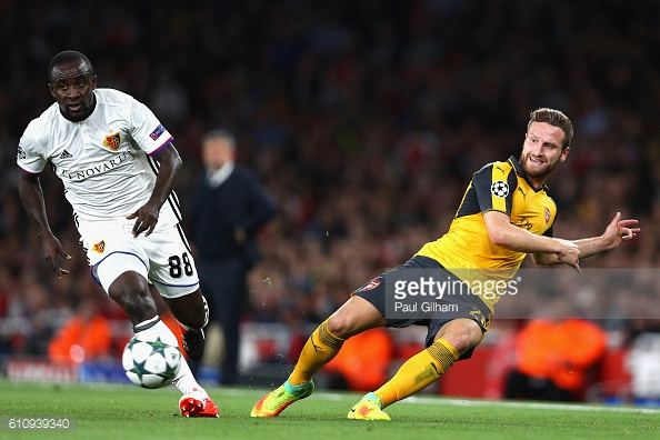 Shkodran Mustafi of Arsenal battles for the ball with Seydou Doumbia of Basel. Source - Getty Images.