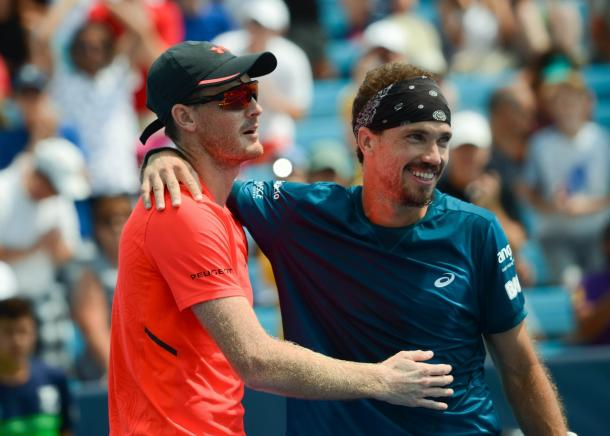 Jamie Murray and Bruno Soares celebrate winning their first Masters title together (Photo: Noel Alberto)