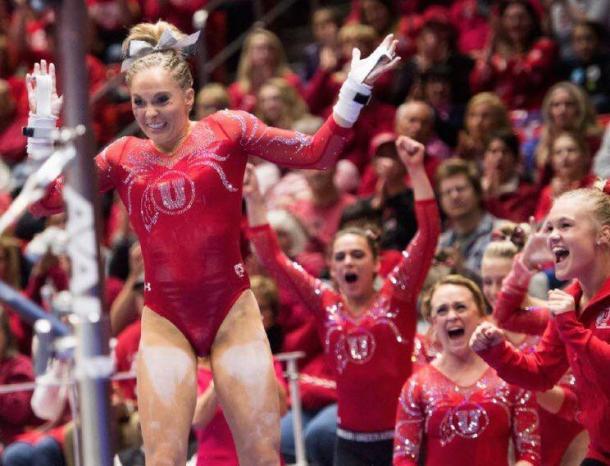 MyKayla Skinner celebrates after uneven bars for Utah against UCLA in Salt Lake City/Utah Athletics