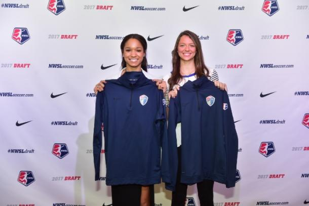 Darian Jenkins and Ashley Hatch after being selected by the North Carolina Courage during the 2017 NWSL College Draft | Source NorthCarolinaFC.com