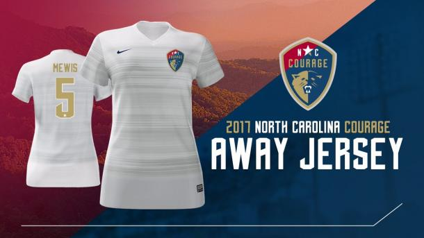 Their away kit will be primarily white with very subtle gold horizontal stripes | Source: The North Carolina Courage Twitter - @TheNCCourage