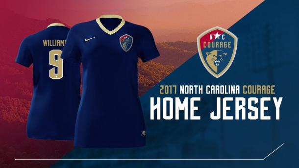The Courage's home kits will be dark blue with a gold trim along the collar | Source: The North Carolina Courage Twitter - @TheNCCourage