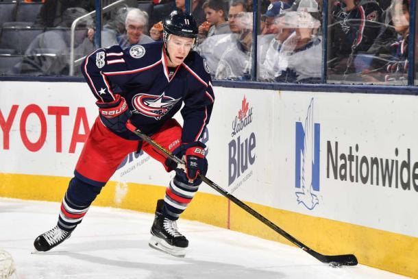Calvert skates with the puck. (Jamie Sabau/NHLI via Getty Images)