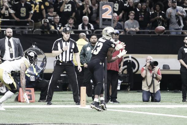 Michael Thomas acabó el partido con 109 yardas en 11 recepciones | Foto: NOLA.com