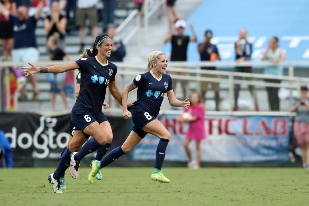 Denise O'Sullivan celebrating with teammates Photo Courtesy of North Carolina Courage