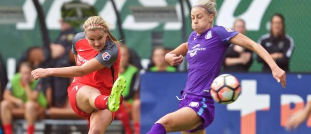 Lindsay Horan and Alanna Kennedy in last season NWSL semifinal | Photo: Craig Mitchelldyer