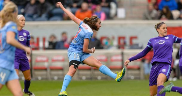Amanda DaCosta in action with the Chicago Red Stars last season | Source: Excelle Sports
