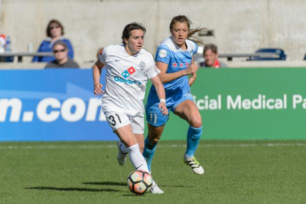 Rookie Christina Gibbons on the dribble for FC Kansas City | Source: FC Kansas City