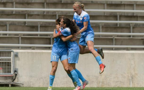 Sofia Huerta and Christen Press hugging it out after Huerta asasisted Press in the Red Stars win over Seattle l Source: Chicagoredstars.com