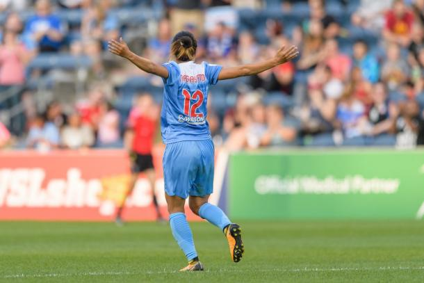 Yuki Nagasato celebrating goal | Photo: Chicago Red Stars: chicagoredstars.com