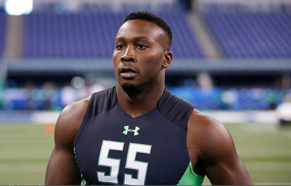 Defensive lineman Noah Spence of Eastern Kentucky looks on during the 2016 NFL Scouting Combine at Lucas Oil Stadium on February 28, 2016 in Indianapolis, Indiana. / Joe Robbins - Getty Images