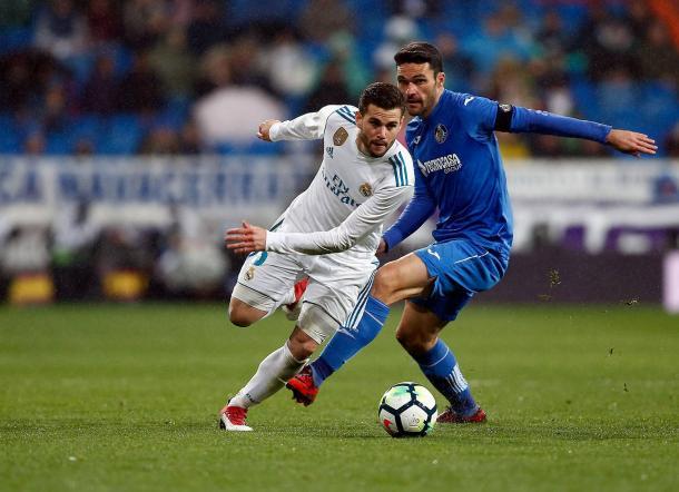 Nacho en un lance con Jorge Molina Foto: Real Madrid