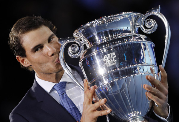 Rafael Nadal finished 2017 as the number one player in the world, receiving his trophy at the ATP Finals in London. Photo: Adrian Dennis/AFP
