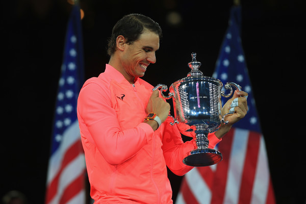 Nadal hoists his trophy last September at the US Open, a title he will need to defend to stay in contention for number one. Photo: Chris Trotman/Getty Images