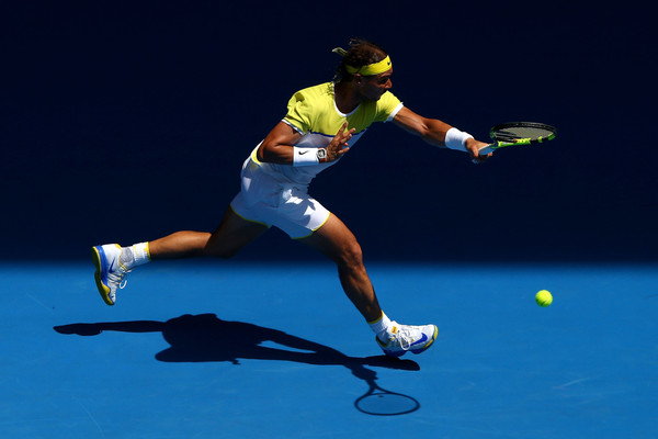 Nadal runs down a forehand in his first round loss in Melbourne. Photo: Ryan Pierse/Getty Images