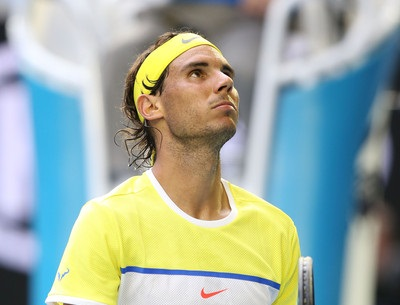 Nadal looks bewildered during his stunning Australian Open loss. Photo: Michael Dodge/Getty Images