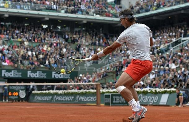 Nadal hits a forehand during the 2013 final. Photo: AFP/Getty Images