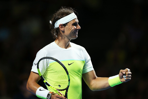 Nadal pumps his first during an exhibition match before the Australian Open (Photo: Brendon Thorne/Getty Images)