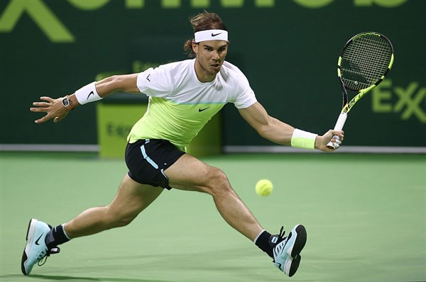 Nadal during his finals run in Doha last week. Photo: Karim Jaafar/AFP/Getty Images