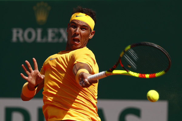 Rafael Nadal crushes one of his gigantic forehands during the Monte Carlo final. Photo: Julian Finney/Getty Images