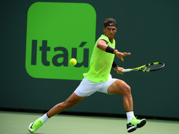 Rafael Nadal chases down a forehand during the final. Photo: Rob Foldy/Getty Images