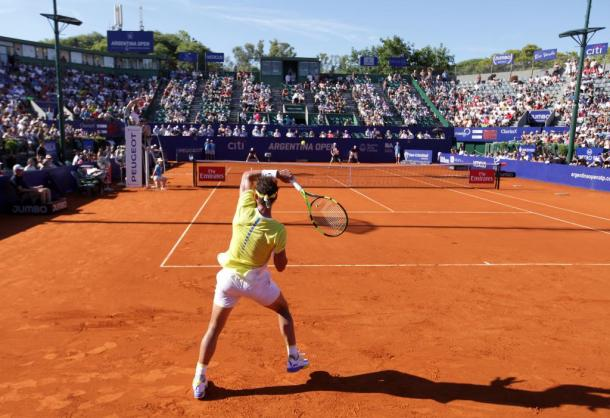 Nadal plays a forehand during his quarterfinal victory. Photo: Argentina Open