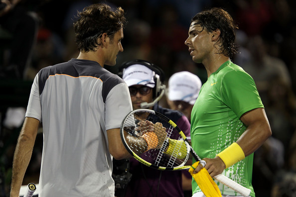 Nadal (right) and Federer shake hands after the Spaniard's Miami semifinal win in 2011. Photo: Clive Brunskill/Getty Images