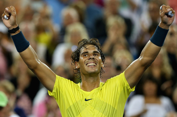 Nadal celebrates his victory over Federer in the 2013 Cincinnati quarterfinals. Photo: Ronald Martinez/Getty Images