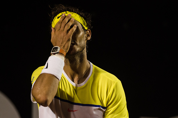 Rafael Nadal reacts to a lost point during his semifinal. Photo: Yasuyoshi Chiba/Getty Images/AFP