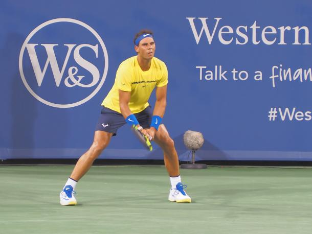 Nadal awaits a serve during his second-round win. Photo: Noel Alberto