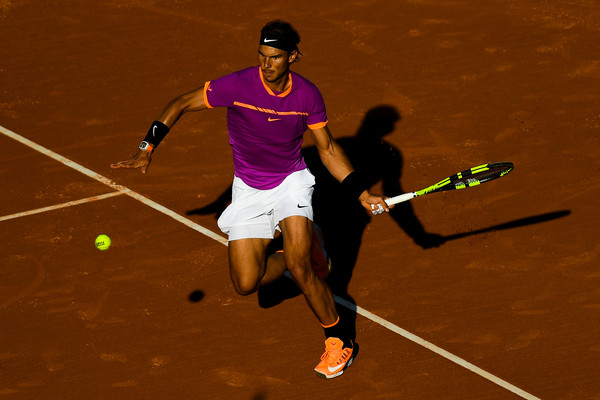 Nadal attacks a forehand during the quarterfinal win. Photo: David Ramos/Getty Images