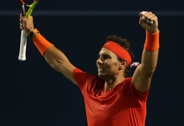 Nadal is through to the semifinals in Toronto for the third time, seen here celebrating his win over Cilic. Photo: Getty Images