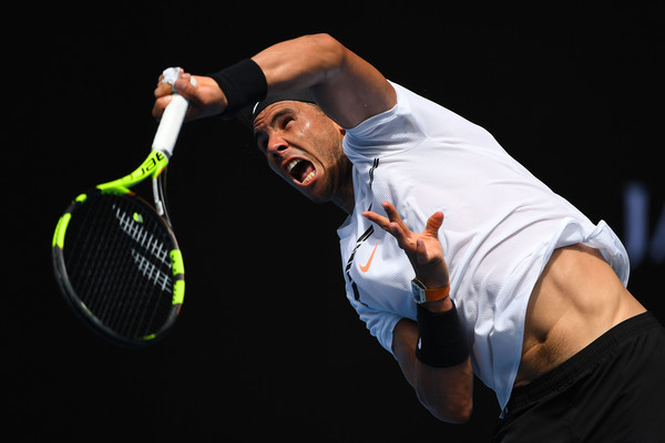 Nadal unleashes a serve during his victory on Tuesday. Photo: Quinn Rooney/Getty Images