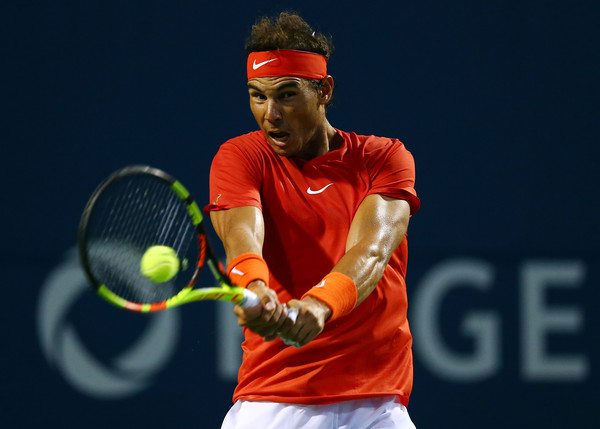 Rafael Nadal crushes one of his big backhands during his win over Paire in Toronto. Photo: Getty Images