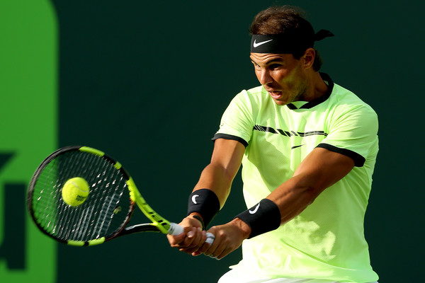Nadal hits a backhand during his second round win. Photo: Matthew Stockman/Getty Images