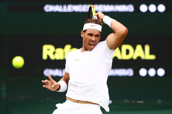 Rafael Nadal unleashes a forehand on Centre Court against Kukushkin. Photo: Michael Steele/Getty Images