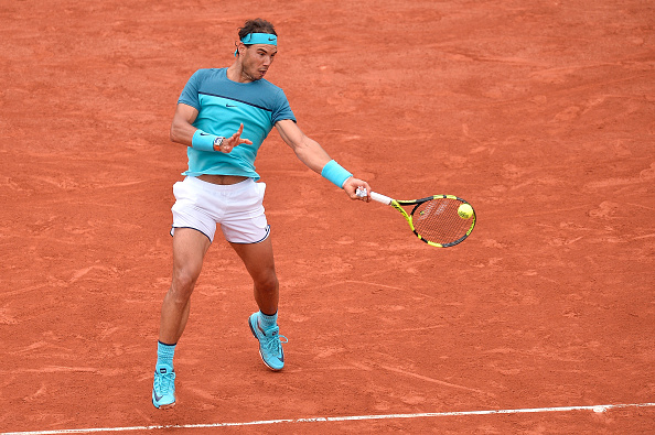 Rafael Nadal hits a forehand during his second round win. Photo: Aurelien Meunier/Getty Images