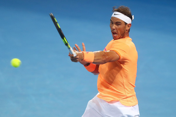 Nadal blasts a forehand during his second round win. Photo: Chris Hyde/Getty Images