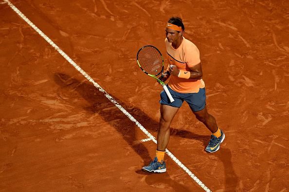 Rafael Nadal pumps his first during his second round win. Photo: Dennis Grombkowski/Getty Images