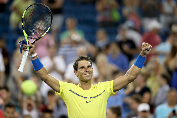 Nadal celebrates his second round win in Cincinnati. Photo: Matthew Stockman/Getty Images