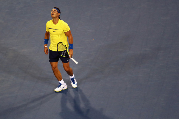 Nadal reacts to a point on Wednesday night in Cincinnati. Photo: Rob Carr/Getty Images