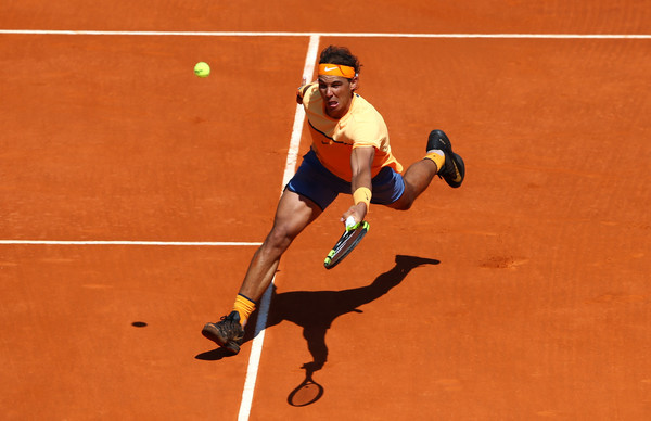 Nadal stretches for a volley in his second round match. Photo: Michael Steele/Getty Images
