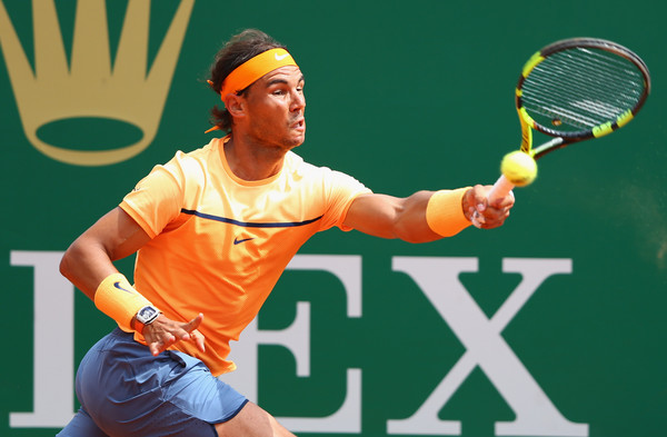 Rafael Nadal stretches for a forehand. Photo: Michael Steele/Getty Images