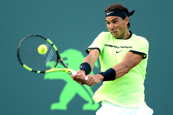 Nadal rips a backhand on his way to his epic comeback. Photo: Matthew Stockman/Getty Images