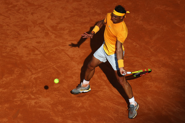 Nadal lines up one of his dominant forehands during the Shapovalov match. Photo: Dean Mouhtaropoulos/Getty Images