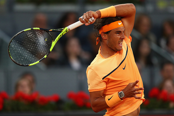 Nadal follows through on a forehand during the victory. Photo: Julian Finney/Getty Images