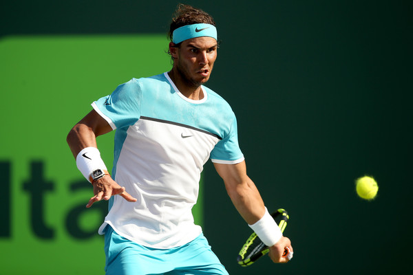 Nadal hits a forehand during his second round match. Photo: Matthew Stockman/Getty Images